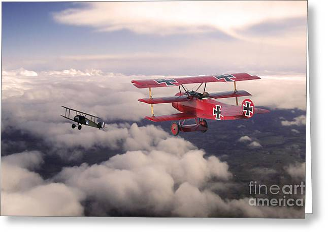 Fokker Dr-1 Greeting Cards - Red Baron Greeting Card by J Biggadike