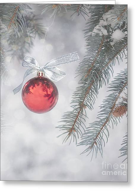 Holiday Decoration Greeting Cards - Red Bauble Greeting Card by Juli Scalzi