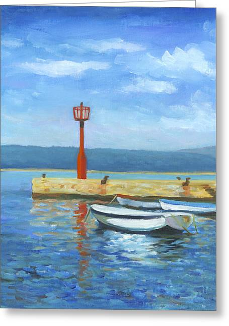 Boats At Dock Greeting Cards - Red Beacon Greeting Card by Joe Maracic