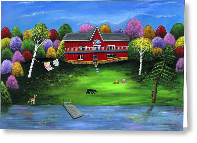 Deer Camp Greeting Cards - Red Bear Cottage Greeting Card by Brianna Mulvale