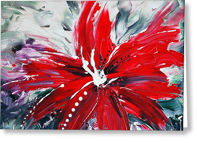 RED BEAUTY Greeting Card by TERESA WEGRZYN