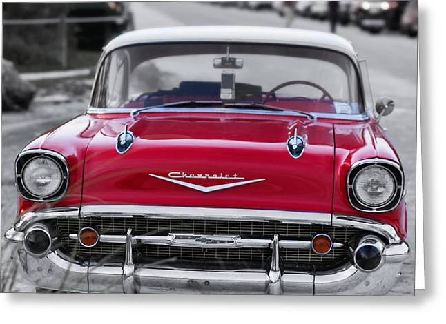 Separate Greeting Cards - Red 57 Chevy Belair at the beach Square Greeting Card by Edward Fielding