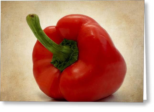 Beige Background Greeting Cards - Red bell pepper Greeting Card by Bernard Jaubert