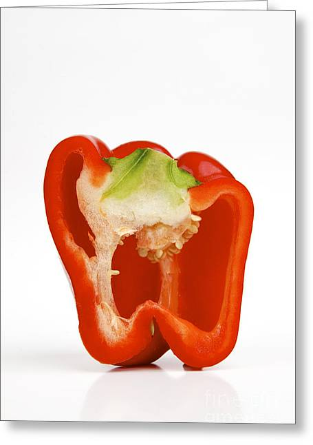 Healthy-lifestyle Greeting Cards - Red bell pepper cut in half Greeting Card by Bernard Jaubert