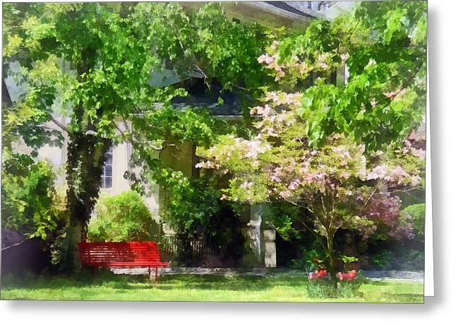 Tulips Greeting Cards - Red Bench by Pink Tree Greeting Card by Susan Savad