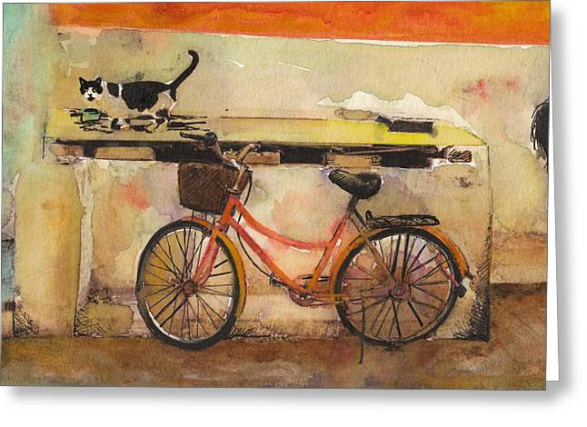 Old Street Greeting Cards - Red Bicycle And Cat Greeting Card by Susan Powell