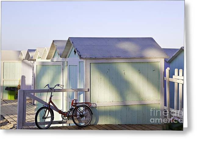 Cabana Greeting Cards - Red Bicycle at Mondello Beach Greeting Card by Madeline Ellis
