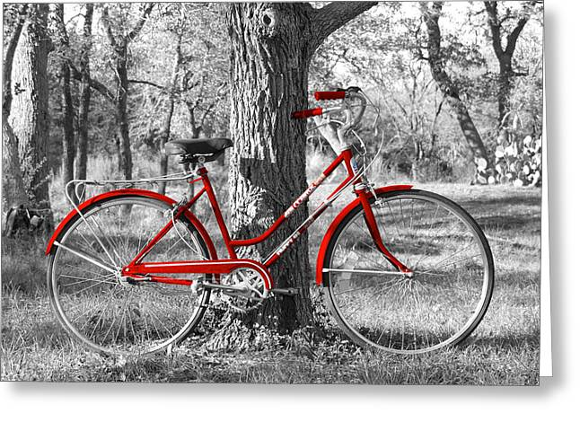 James R Granberry Greeting Cards - Red Bicycle Greeting Card by James Granberry