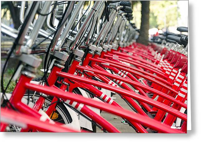 Metal Tires Greeting Cards - Red Bicycles Greeting Card by Jess Kraft