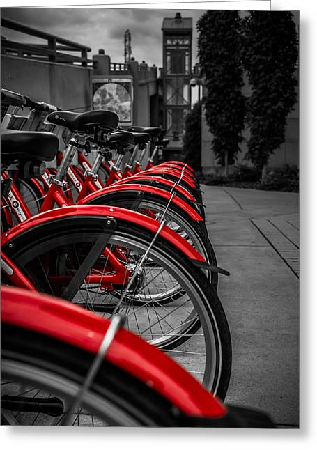 Recently Sold -  - Nashville Tennessee Greeting Cards - Red Bicycles Greeting Card by Ron Pate