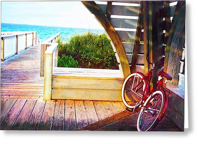 red bike on beach boardwalk Greeting Card by Jane Schnetlage