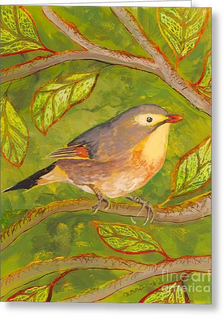 Fauna Glass Art Greeting Cards - Red-billed Leiothrix Greeting Card by Anna Skaradzinska