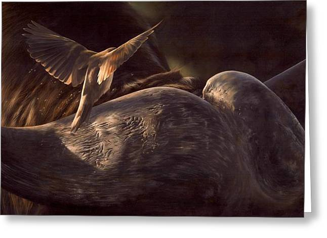 African Art Greeting Cards - Red-Billed Oxpecker and Cape Buffalo Painting Greeting Card by Rachel Stribbling