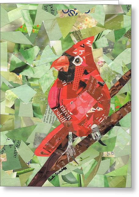 Red Bird Greeting Card by Paula Dickerhoff