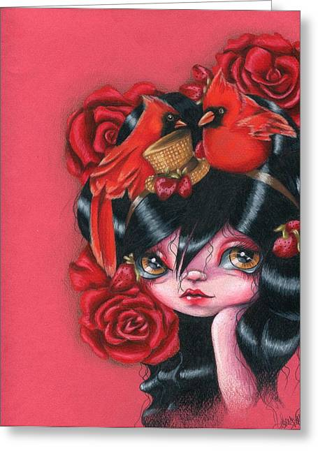 Red Birds And Roses Greeting Card by Sour Taffy