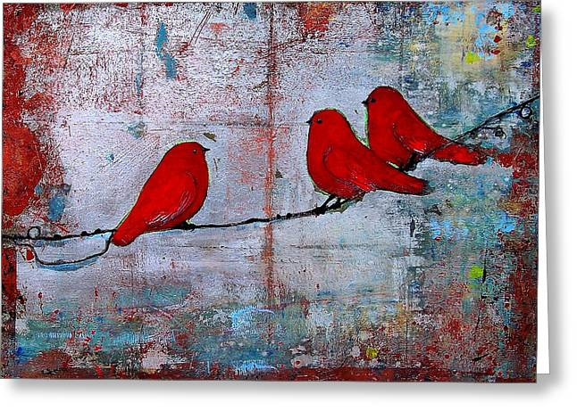 Cheerful Greeting Cards - Red Birds Let It Be Greeting Card by Blenda Studio