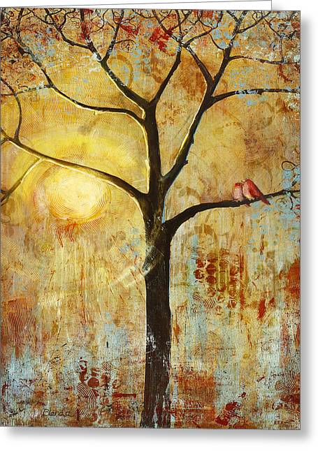 Love Bird Greeting Cards - Red Birds Tree Version 2 Greeting Card by Blenda Studio