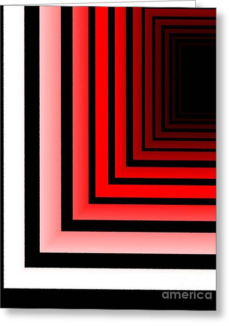 Geometry Greeting Cards - Red Black and White Abstract Geometric Greeting Card by Mario  Perez