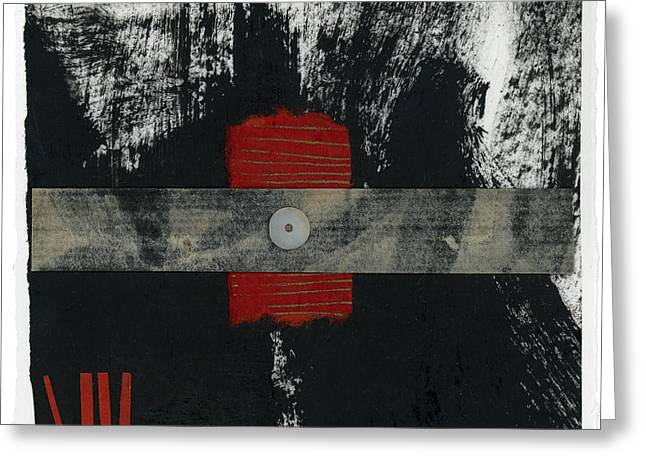 Torn Greeting Cards - Red Black and White Collage 2 Greeting Card by Carol Leigh