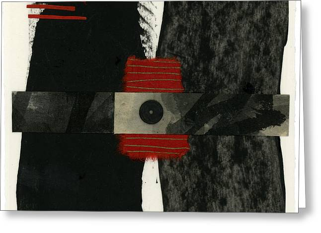 Japan Mixed Media Greeting Cards - Red Black and White Collage 3 Greeting Card by Carol Leigh