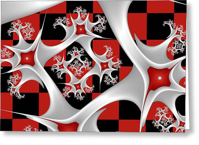 Surreal Geometric Greeting Cards - Red Black and White Greeting Card by Gabiw Art