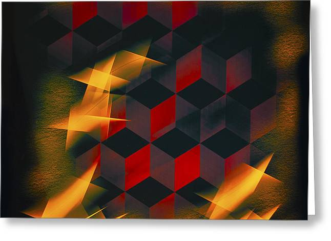 Google Digital Greeting Cards - Red Black Blocks Abstract Greeting Card by Barbara Snyder