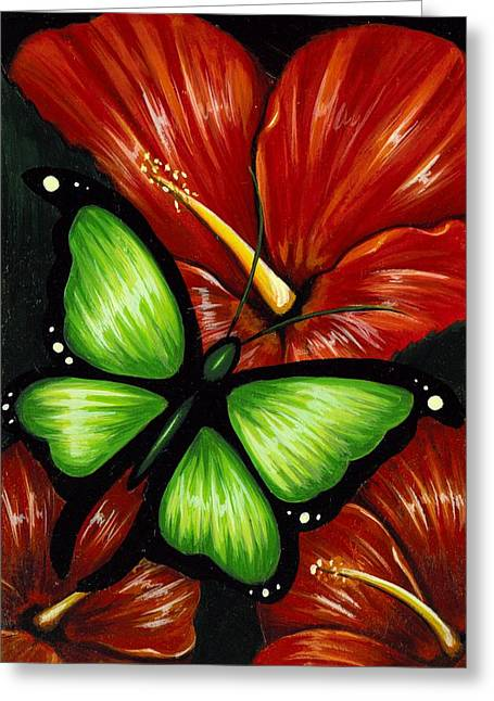 Butterflies Paintings Greeting Cards - Red Blooms Greeting Card by Elaina  Wagner