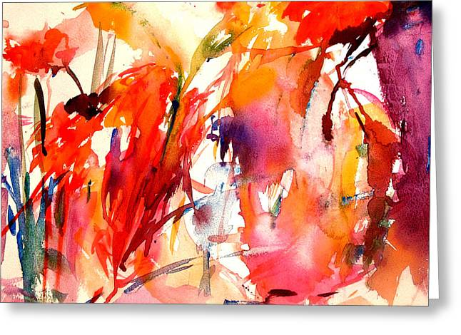 Abstract Expressionist Greeting Cards - Red Blooms Greeting Card by  Tolere