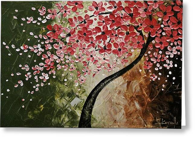Cherry Blossoms Paintings Greeting Cards - Red Blossoms  Greeting Card by Tomoko Koyama