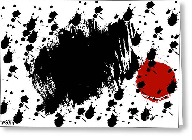 Digital Installation Art Greeting Cards - Red Blot Dark Blots Greeting Card by Tina M Wenger