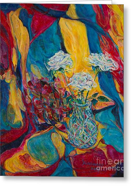 Prettiness Greeting Cards - Red Blue Yellow Greeting Card by Anna Yurasovsky