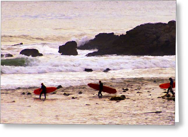 On The Beach Digital Greeting Cards - Red Boards Greeting Card by Ron Regalado