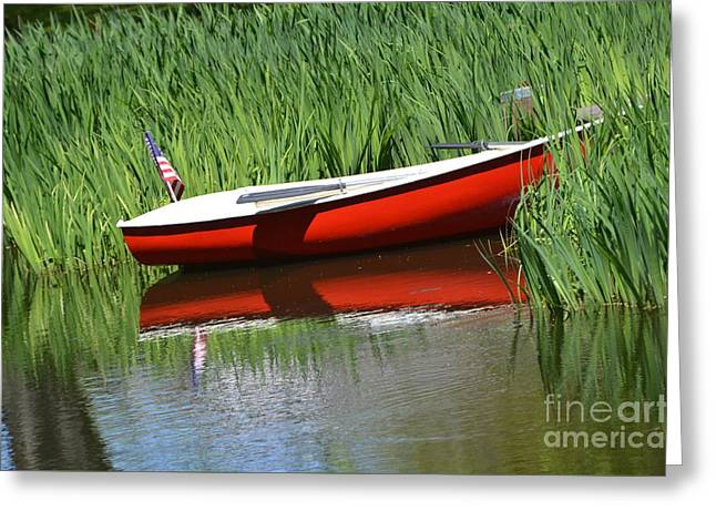 Water In Caves Greeting Cards - Red Boat On A Lake -  American Flag Greeting Card by ArtyZen Studios - ArtyZen Home