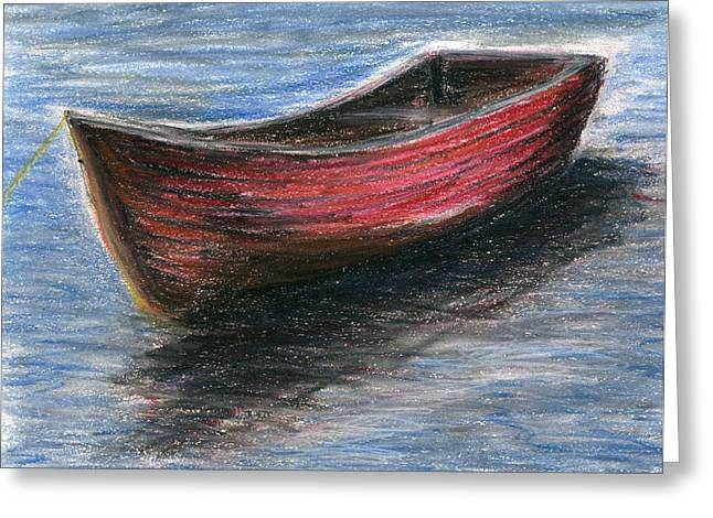 Row Pastels Greeting Cards - Red Boat Greeting Card by E Carrington