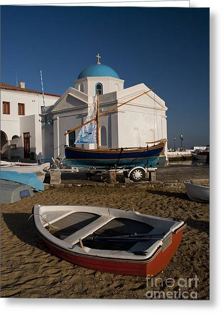 Fishermans Island Greeting Cards - Red Boat in Mykonos at Dawn Greeting Card by David Smith