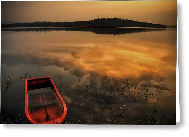 Reflecting Water Pyrography Greeting Cards - Red boat in sunrise Greeting Card by Stefan Johansson