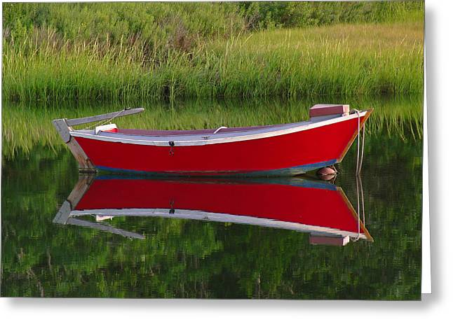 Red Boat Greeting Card by Juergen Roth