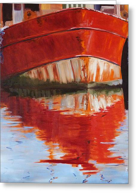 Wooden Ship Paintings Greeting Cards - Red Boat Greeting Card by Nancy Merkle