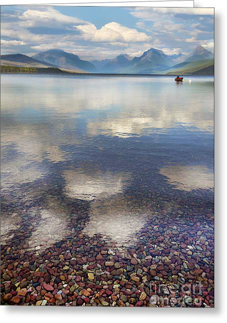 Lake Mcdonald Greeting Cards - Red Boat on Mountain Lake Greeting Card by Jill Battaglia