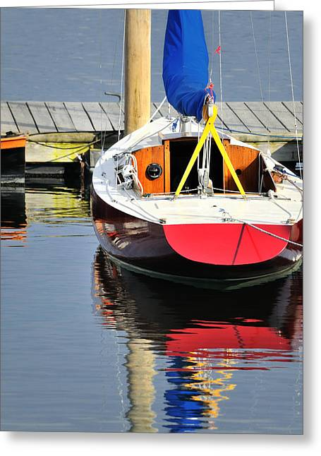 Maine Beach Greeting Cards - Red Boat Reflections Rockland Maine Greeting Card by Marianne Campolongo