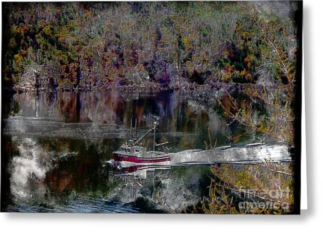 Engraving Greeting Cards - Red Boat - Seascape - Steel Engraving Greeting Card by Barbara Griffin