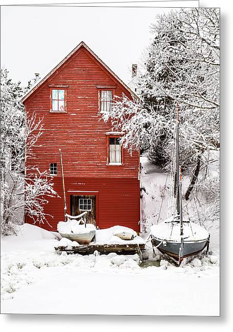 Red Barn In Winter Greeting Cards - Red Boathouse in the Snow Greeting Card by Benjamin Williamson