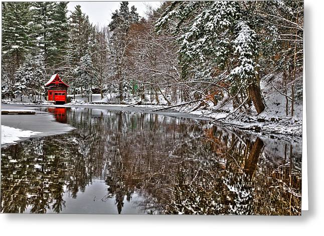 Patterson House Greeting Cards - Red Boathouse in Winter Greeting Card by David Patterson