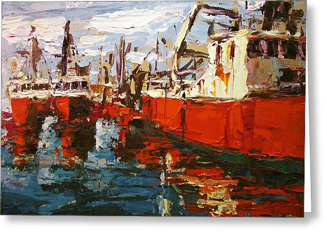 Best Sellers -  - Boats In Reflecting Water Greeting Cards - Red Boats Greeting Card by Brian Simons
