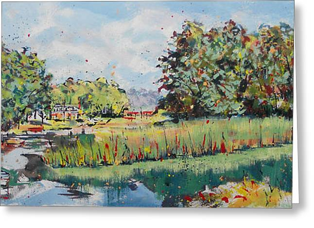 Loose Greeting Cards - Red Boats On Herring River Greeting Card by Larry Lerew
