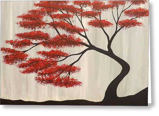 Fantasy Tree Art Greeting Cards - Red Bonsai Greeting Card by Darren Robinson