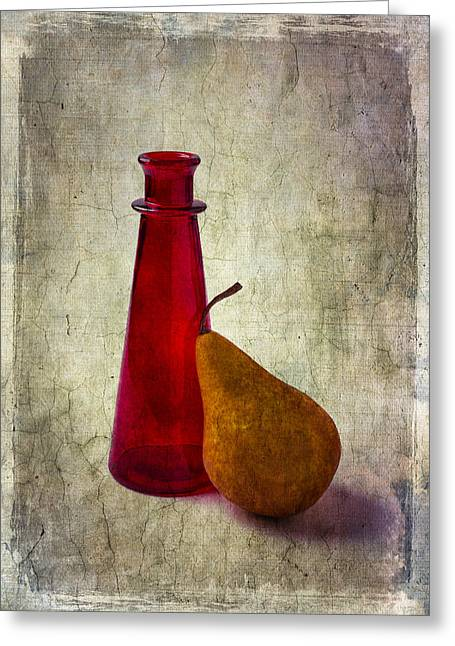 Breakable Greeting Cards - Red Bottle And Pear Greeting Card by Garry Gay