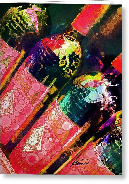 Red Wine Prints Greeting Cards - Red bottles 1 Greeting Card by Cindy Edwards