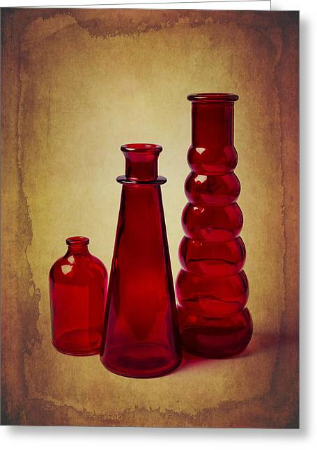 Breakable Greeting Cards - Red Bottles Still Life Greeting Card by Garry Gay