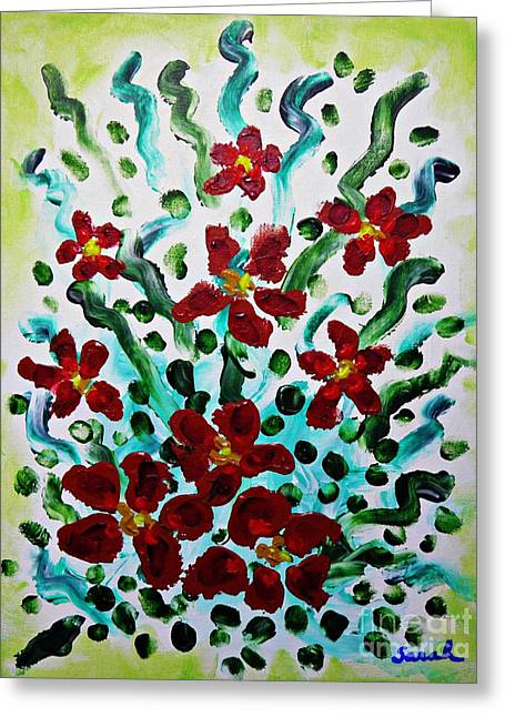 Whimsical Spontaneous Greeting Cards - Red Bouquet Greeting Card by Sarah Loft